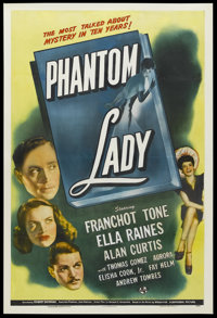 "Phantom Lady (Universal, 1944). One Sheet (27"" X 41""). Film Noir. Starring Franchot Tone, Ella Raines, Alan Cu..."