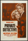 "Movie Posters:Comedy, Private Detective (Warner Brothers - First National, 1939). One Sheet (27"" X 41""). Mystery. Starring Jane Wyman, Dick Foran,..."