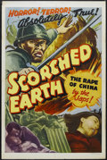 "Scorched Earth (Lamont Pictures, 1942). One Sheet (27"" X 41""). Documentary. Directed by Ben Mindenburg. Starri..."