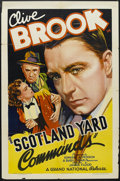 "Movie Posters:Crime, Scotland Yard Commands (Grand National, 1936). One Sheet (27"" X 41""). Crime. Starring Clive Brook, Victoria Hopper, Nora Swi..."