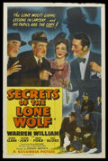 "Movie Posters:Mystery, Secrets of the Lone Wolf (Columbia, 1941). One Sheet (27"" X 41"").Mystery. Starring Warren William, Ruth Ford, Roger Clark, ..."