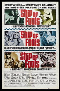 "Ship of Fools (Columbia, 1965). One Sheet (27"" X 41"") Style B. Drama. Starring Vivien Leigh, Simone Signoret..."