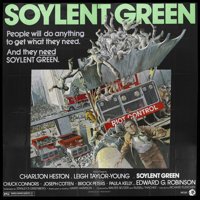 "Soylent Green (MGM, 1973). Six Sheet (81"" X 81"") . Sci-Fi Thriller. Starring Charlton Heston, Leigh Taylor-You..."