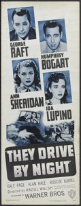 "Movie Posters:Drama, They Drive By Night (Warner Brothers, R-1948). Insert (14"" X 36""). Thriller. Starring George Raft, Ann Sheridan, Ida Lupino,..."