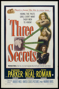 "Three Secrets (Warner Brothers, 1950). One Sheet (27"" X 41""). Drama. Starring Eleanor Parker, Patricia Neal, R..."
