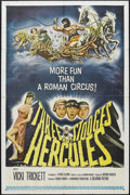 "Movie Posters:Comedy, The Three Stooges Meet Hercules (Columbia, 1962). One Sheet (27"" X 41""). Comedy. Starring Moe Howard, Larry Fine, Curly Joe ..."