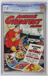 "America's Greatest Comics #6 Davis Crippen (""D"" Copy) pedigree (Fawcett, 1943) CGC VF- 7.5 Cream to off-white..."