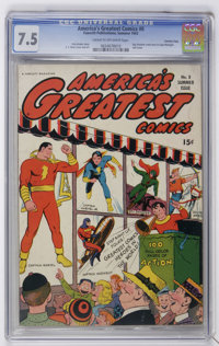 "America's Greatest Comics #8 Davis Crippen (""D"" Copy) pedigree (Fawcett, 1943) CGC VF- 7.5 Cream to off-white..."