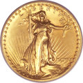 High Relief Double Eagles, 1907 $20 High Relief, Wire Rim MS65 PCGS. CAC....