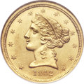 Liberty Half Eagles, 1842-C $5 Small Date MS63 NGC. CAC....