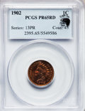 Proof Indian Cents, 1902 1C PR65 Red PCGS. Eagle Eye Photo Seal. NGC Census: (52/46).PCGS Population (50/35). Mintage: 2,018. Numismedia Wsl. ...