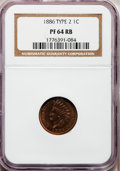 Proof Indian Cents, 1886 1C Type Two PR64 Red and Brown NGC. NGC Census: (80/151). PCGSPopulation (109/98). Mintage: 4,290. Numismedia Wsl. Pr...