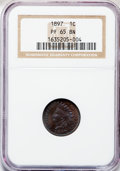 Proof Indian Cents: , 1897 1C PR65 Brown NGC. NGC Census: (36/32). PCGS Population(17/12). Mintage: 1,938. Numismedia Wsl. Price for problem fre...