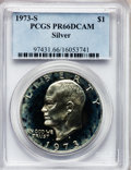 Proof Eisenhower Dollars: , 1973-S $1 Silver PR66 Deep Cameo PCGS. PCGS Population (96/12091).NGC Census: (19/1153). Numismedia Wsl. Price for proble...
