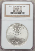 Modern Issues: , 2002-P $1 Olympics Silver Dollar MS69 NGC. NGC Census: (695/653).PCGS Population (1878/281). Numismedia Wsl. Price for pr...