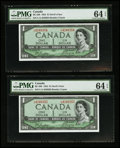 Canadian Currency: , BC-29b $1 Devil's Face 1954 Two Consecutive Examples. ... (Total: 2 notes)