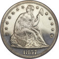 Proof Seated Dollars, 1857 $1 PR62 Cameo PCGS. CAC....