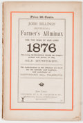 Books:Americana & American History, [Henry Wheeler Shaw]. Seven Yearly issues of Josh Billing'sFarmer's Allminax. New York: G. W. Carleton, 1870-1876. ...