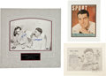 Baseball Collectibles:Photos, New York Yankees Legends Signed Memorabilia Lot of 3....