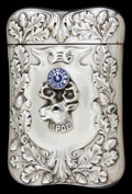 Silver Smalls:Match Safes, A FRITSCHE SILVER AND ENAMEL MATCH SAFE . L. Fritsche & Co.,Newark, New Jersey, circa 1905. Marks: F (in shield),STE...