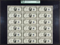 Small Size:Silver Certificates, Fr. 1706 $10 1953 Silver Certificates. Uncut Sheet of Eighteen. PCGS Very Choice New 64PPQ. . ...