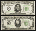 Fr. 1956-B* $5 1934 Federal Reserve Note. Very Fine. Fr. 2054-C* $20 1934 Federal Reserve Note. About Uncircula