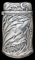 Silver Smalls:Match Safes, A FRANK WHITING SILVER MATCH SAFE. Frank M. Whiting, Attleboro,Massachusetts, circa 1900. Marks: W, STERLING, 74. 2-3/8...