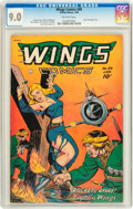 Golden Age (1938-1955):Adventure, Wings Comics #89 Lost Valley pedigree (Fiction House, 1948) CGC VF/NM 9.0 Off-white pages....