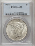 Peace Dollars: , 1927-S $1 AU55 PCGS. PCGS Population (129/4334). NGC Census:(99/2895). Mintage: 866,000. Numismedia Wsl. Price for problem...