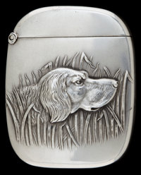 AN AMERICAN SILVER MATCH SAFE Circa 1900 Marks: STERLING 2-1/8 inches high (5.4 cm) 0.91 troy