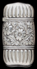 Silver Smalls:Match Safes, A WOOD & HUGHES SILVER MATCH SAFE. Wood & Hughes, New York,New York, circa 1900. Marks: STERLING, W&H, 419. 2-1/4inche...