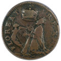 Colonials, (1670-75) FARTH St. Patrick Farthing, Halo VF35 PCGS. Breen-206....
