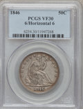Seated Half Dollars, 1846 50C 6 Over Horizontal 6 VF30 PCGS. FS-301, formerly FS-003,WB-104....