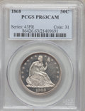 Proof Seated Half Dollars, 1868 50C PR63 Cameo PCGS....