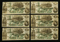 Confederate Notes:1862 Issues, CT-45/342 Counterfeit $1 1862 Ten Examples.. ... (Total: 10 notes)