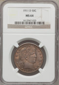 Barber Half Dollars, 1911-D 50C MS64 NGC....