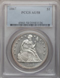 Seated Dollars, 1867 $1 AU58 PCGS....