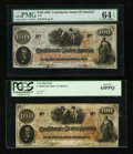 Confederate Notes:1862 Issues, T41 $100 1862. Two Examples.. ... (Total: 2 notes)