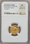 Ancients:Byzantine, Ancients: Maurice Tiberius (582-602). AV semissis (2.23 gm). ...