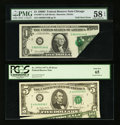 Error Notes:Foldovers, Fr. 1907-G $1 1969D Federal Reserve Note. PMG Choice About Unc 58EPQ.. Fr. 1975-G $5 1977A Federal Reserve Note. PCGS Gem... (Total:2 notes)