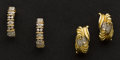 Estate Jewelry:Earrings, Two Pair of Diamond & Gold Earrings. ... (Total: 2 Items)