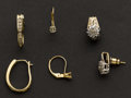 Estate Jewelry:Earrings, Three Pair of Diamond & Gold Earrings. ... (Total: 3 Items)