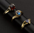 Estate Jewelry:Rings, Three Gold & Gemstone Rings. ... (Total: 3 Items)