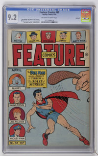 Feature Comics #87 Rockford pedigree (Quality, 1945) CGC NM- 9.2 Off-white to white pages. Al Bryant cover. Gill Fox art...