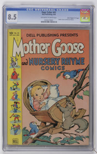 """Four Color #41 Mother Goose and Nursery Rhyme - Davis Crippen (""""D"""" Copy) pedigree (Dell, 1944) CGC VF+ 8.5 Off..."""