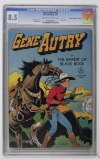 "Four Color #93 Gene Autry - Davis Crippen (""D"" Copy) pedigree (Dell, 1946) CGC VF+ 8.5 Cream to off-white page..."
