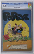 """Golden Age (1938-1955):Humor, Four Color #113 Popeye - Davis Crippen (""""D"""" Copy) pedigree (Dell, 1946) CGC NM- 9.2 Off-white to white pages. Bud Sagendorf ..."""