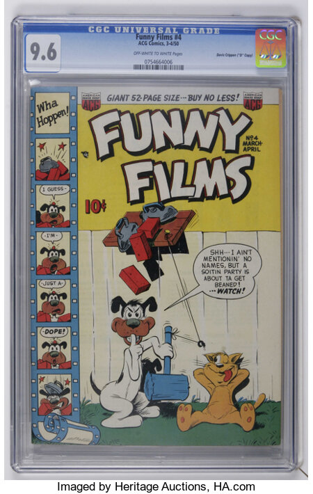 """Funny Films #4 Davis Crippen (""""D"""" Copy) pedigree (ACG, 1950) CGC NM+ 9.6 Off-white to white pages. Overstreet 2006 NM- 9.2 v..."""