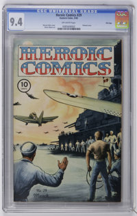 Heroic Comics #29 File Copy (Eastern Color, 1945) CGC NM 9.4 Off-white pages. Harvey Fuller painted cover. Chuck Winter...