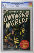 Golden Age (1938-1955):Science Fiction, Journey Into Unknown Worlds #56 Circle 8 pedigree (Atlas, 1957) CGCVF/NM 9.0 White pages. John Severin cover. Bill Everett ...